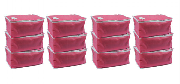 Picture of Non Woven Storage Bag/ Organiser/ Saree cover - Pink - Set of 12