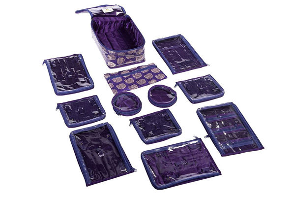 Picture of Brocade Jewellery Organizer/Pouch with 12 Pouches- Purple