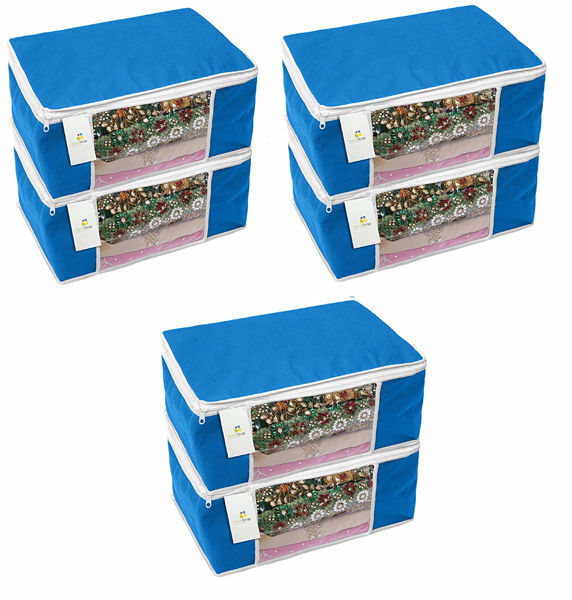 Picture of Non-Woven Saree Cover Storage with window(Navy Blue) - Pack of 6