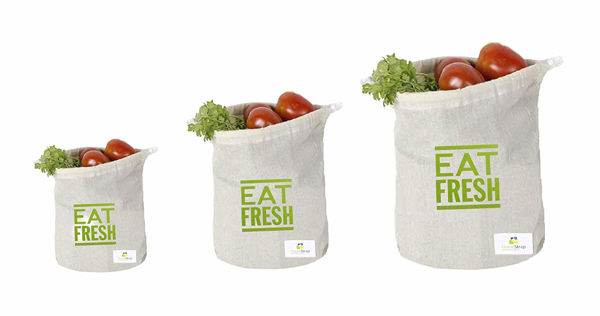 Picture of Cotton Reusable Muslin Fridge Storage Bag for Fruits and Vegetables(Beige) - Set of 6