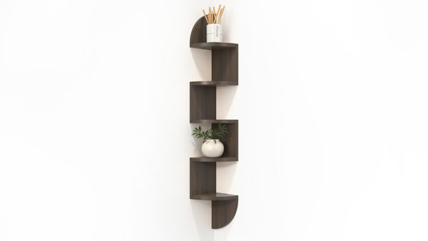 Picture of Corner Wall Shelf Zig Zag Shape with Curved Edges (5 Tier)