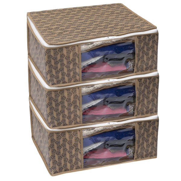 Picture of HomeStrap Girls/Women's 3 Piece Non Woven Printed Saree Cover/Cloth Storage/Organizer with Transparent Window (Beige | Pack of 3)