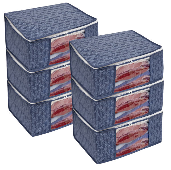 Picture of HomeStrap Non Woven Printed Saree Cover/Cloth Storage/Organiser with Transparent Window (Navy Blue)