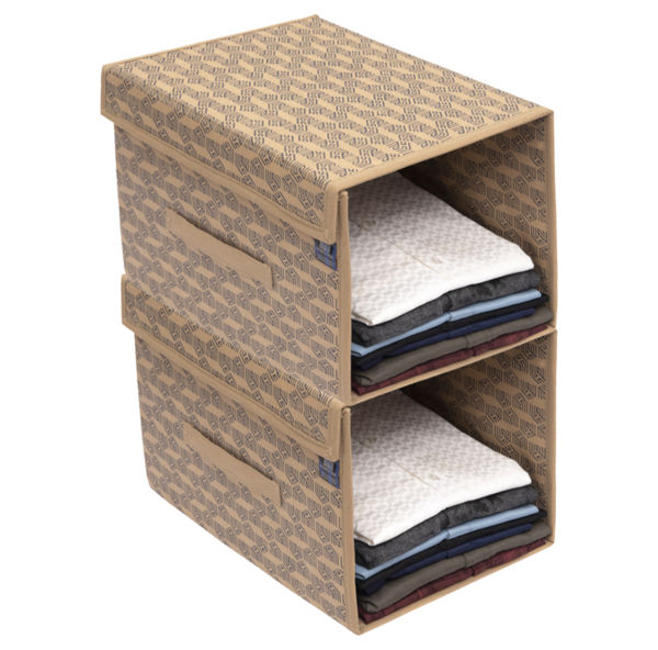 Picture of HomeStrap Printed Stackable Non Woven Shirt Organizer with Cover Lid (Beige) - Pack of 2
