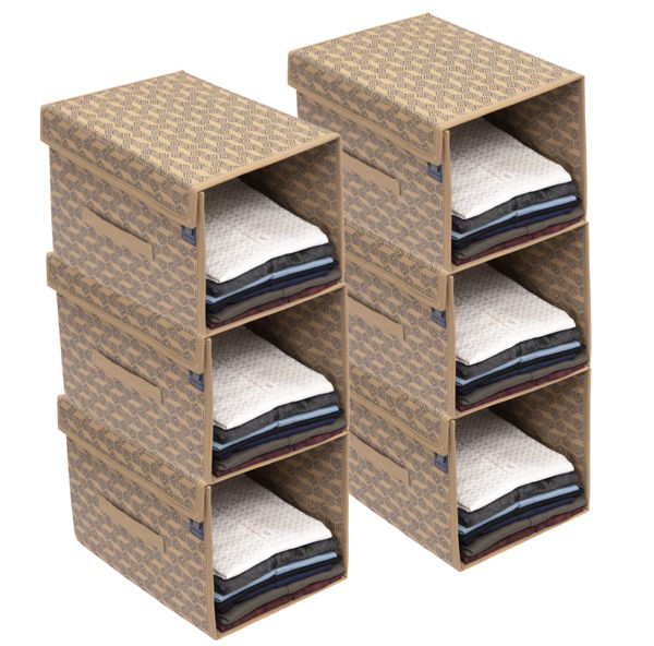 Picture of HomeStrap Printed Stackable Shirt Organizer with Cover Lid- Beige Pack of 6
