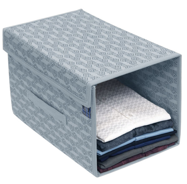 Picture of HomeStrap Non Woven Printed Stackable Shirt Organizer with Cover Lid- Grey