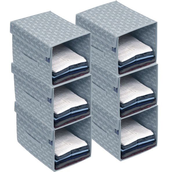 Picture of HomeStrap Non Woven Printed Stackable Shirt Organizer with Cover Lid- Grey Pack of 6