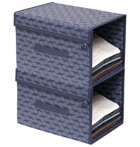 Picture of HomeStrap Printed Stackable Shirt Organizer with Cover Lid- Navy Blue Pack of 2