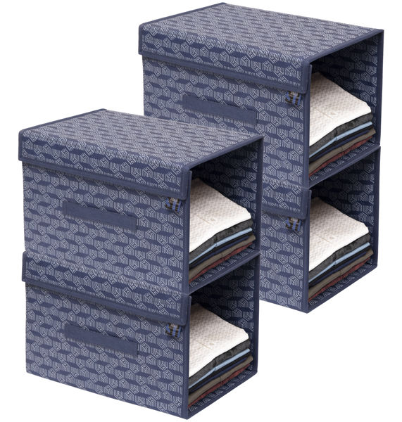 Picture of HomeStrap Printed Stackable Shirt Organizer with Cover Lid- Navy Blue Pack of 4