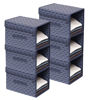 Picture of HomeStrap Printed Stackable Shirt Organizer with Cover Lid- Navy Blue Pack of 6