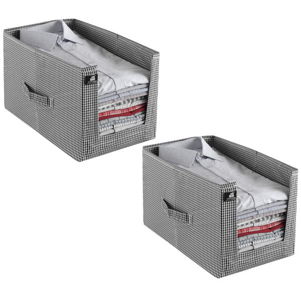 Picture of HomeStrap Stackable Shirt Organiser White/Black Checks Pack of 2