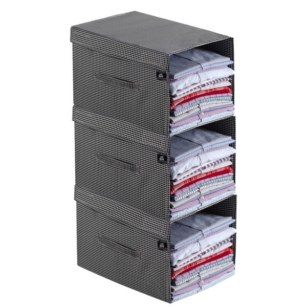 Picture of HomeStrap Premium Polyester Shirt Stacker/Wardrobe Organizer with Cover Lid (Black & White) - Pack of 3