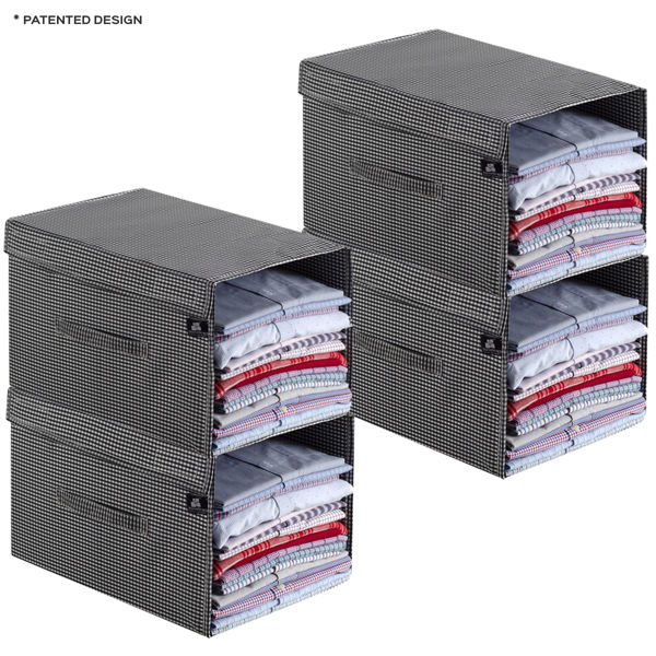 Picture of HomeStrap Premium Polyester Shirt Stacker/Wardrobe Organizer with Cover Lid (Pack of 4