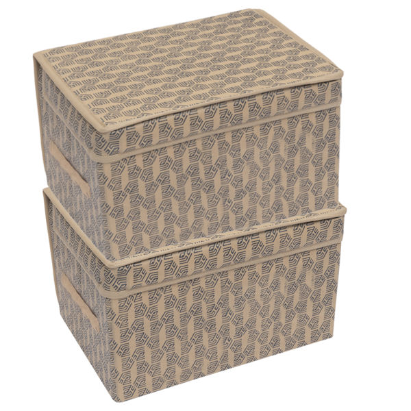 Picture of HomeStrap Printed Foldable Storage Cubes/Box Flap closer (Beige)|(Pack of 2)