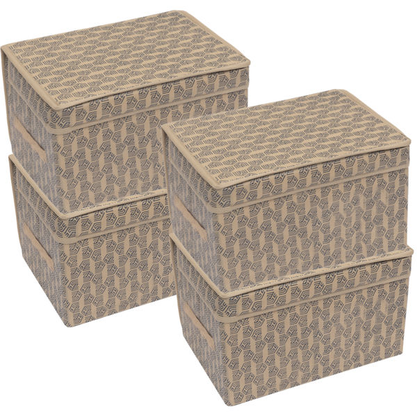 Picture of HomeStrap Printed Foldable Storage Cubes/Box Flap closer (Beige)|(Pack of 4)