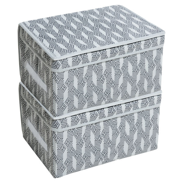 Picture of HomeStrap Printed Foldable Storage Cubes/Box Flap closer (Grey)|(Pack of 2)