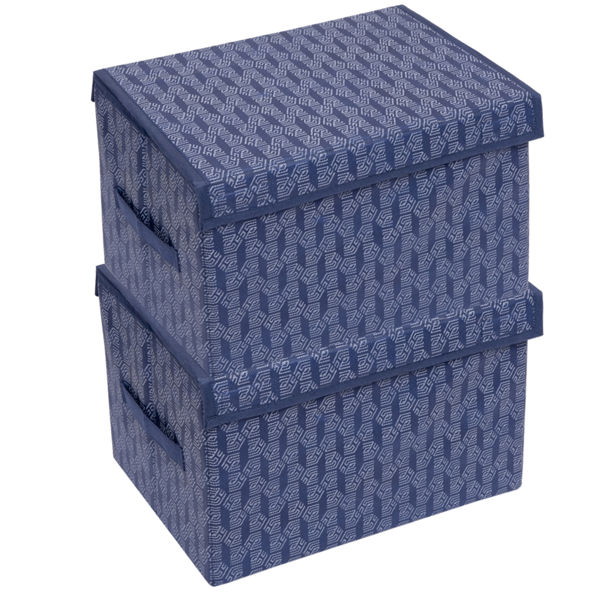 Picture of HomeStrap Premium Multi-utility Foldable Storage Rectangle/Box With Side Handle and Removable Top Lid (Navy Blue) (Pack of 2)
