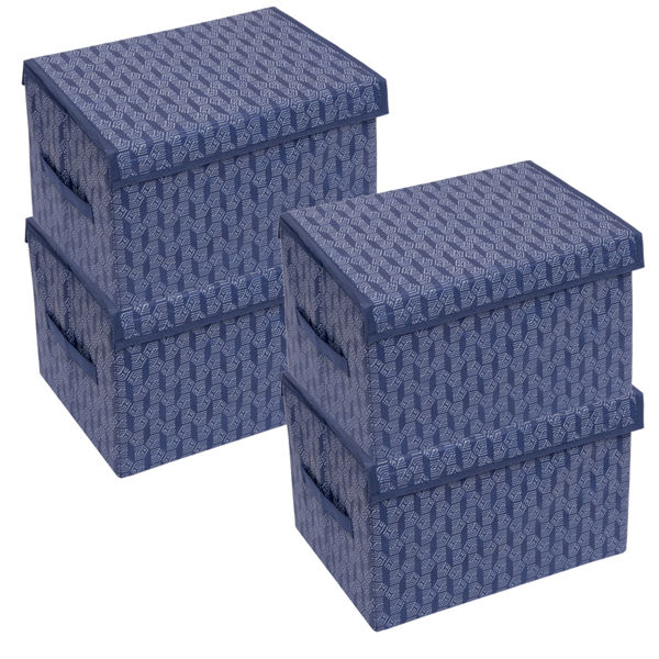 Picture of HomeStrap Premium Multi-utility Foldable Storage Rectangle/Box With Side Handle and Removable Top Lid (Navy Blue)|(Pack of 4)